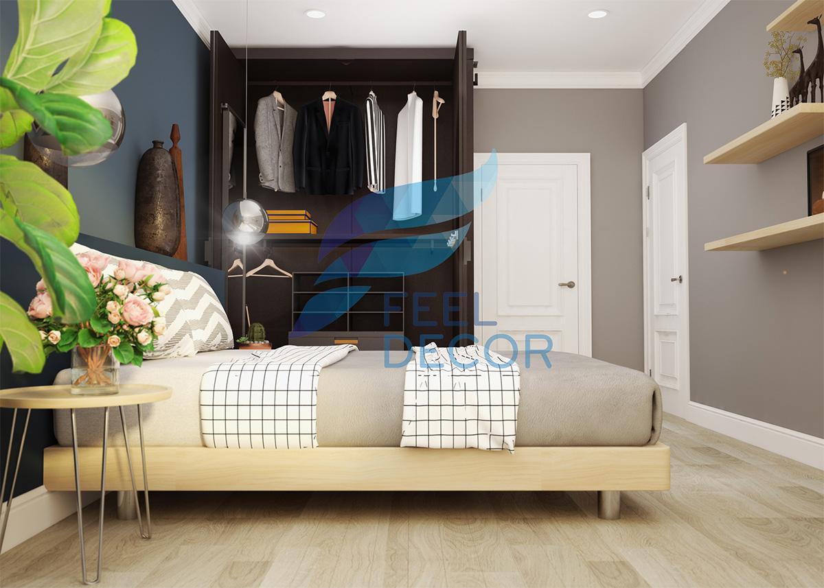 Hình ảnh phối cảnh không gian nội thất phòng ngủ nhỏ