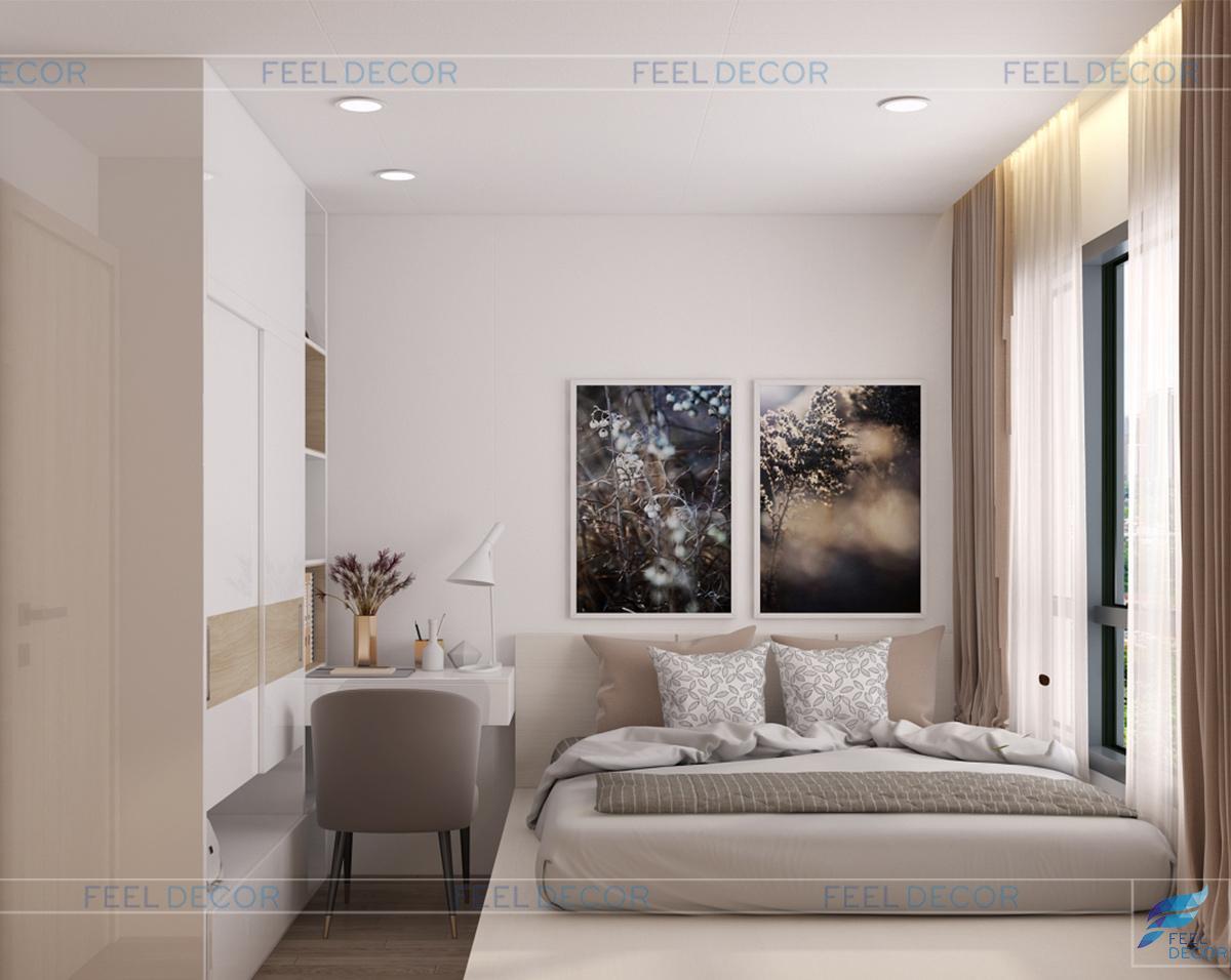 Thiết kế nội thất phòng ngủ phụ tối ưu không gian căn hộ 80m2