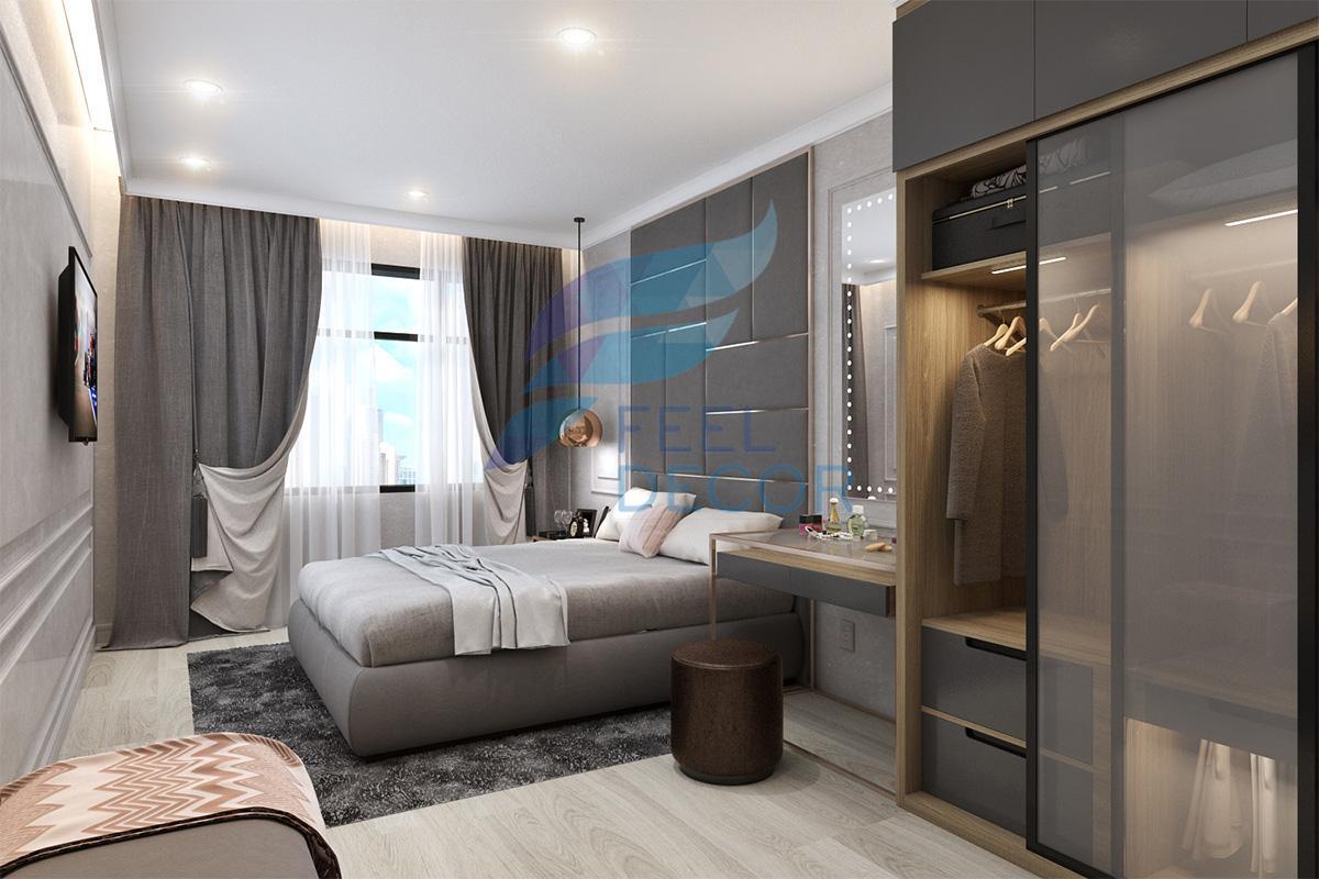 phòng ngủ Master căn hộ 85m2 chung cư The Everrich Infinity