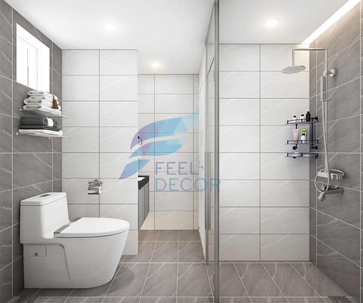 Không gian nội thất phòng tắm và vệ sinh đầy tiện nghi