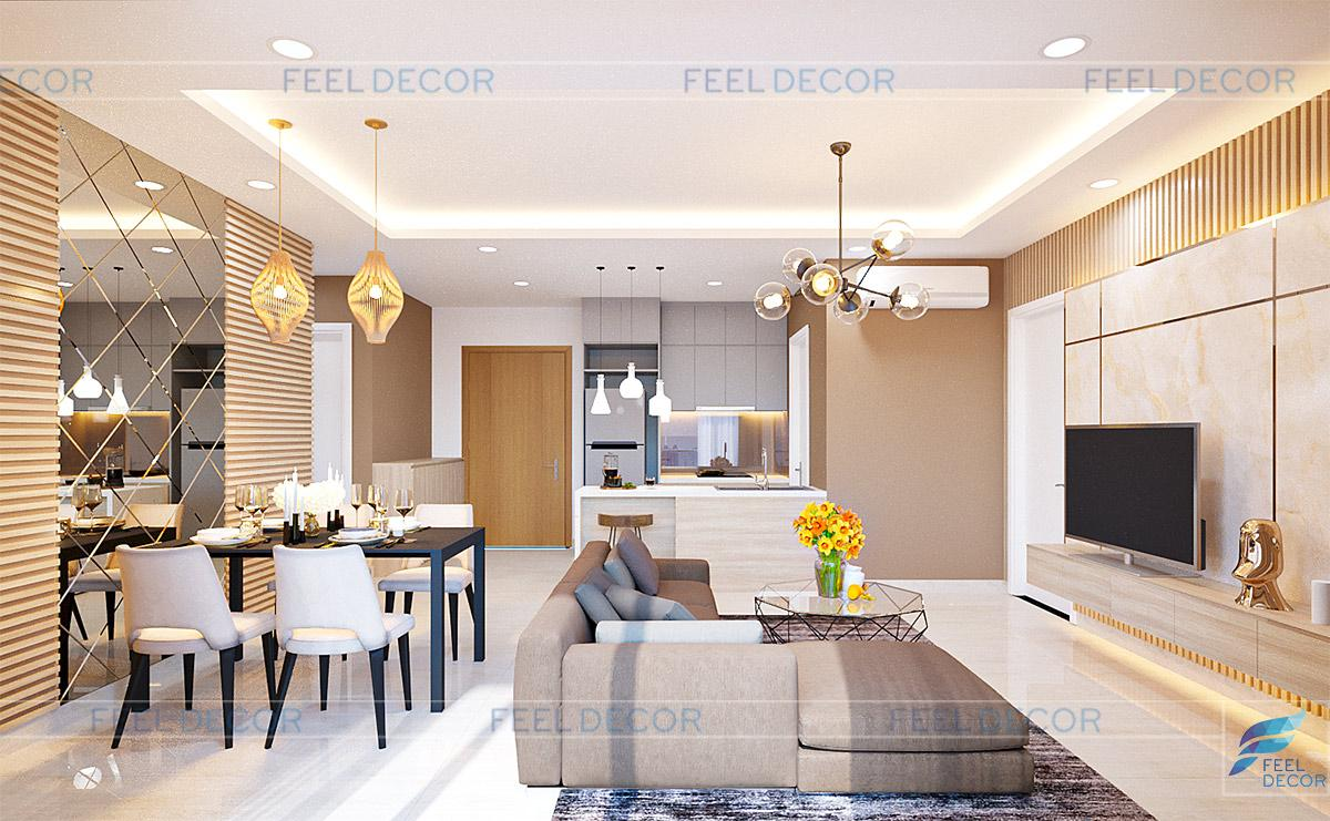 Thiết kế thi công nội thất căn hộ 90m2 2 phòng ngủ chung cư Diamond Island – Chủ đầu tư anh Việt Anh