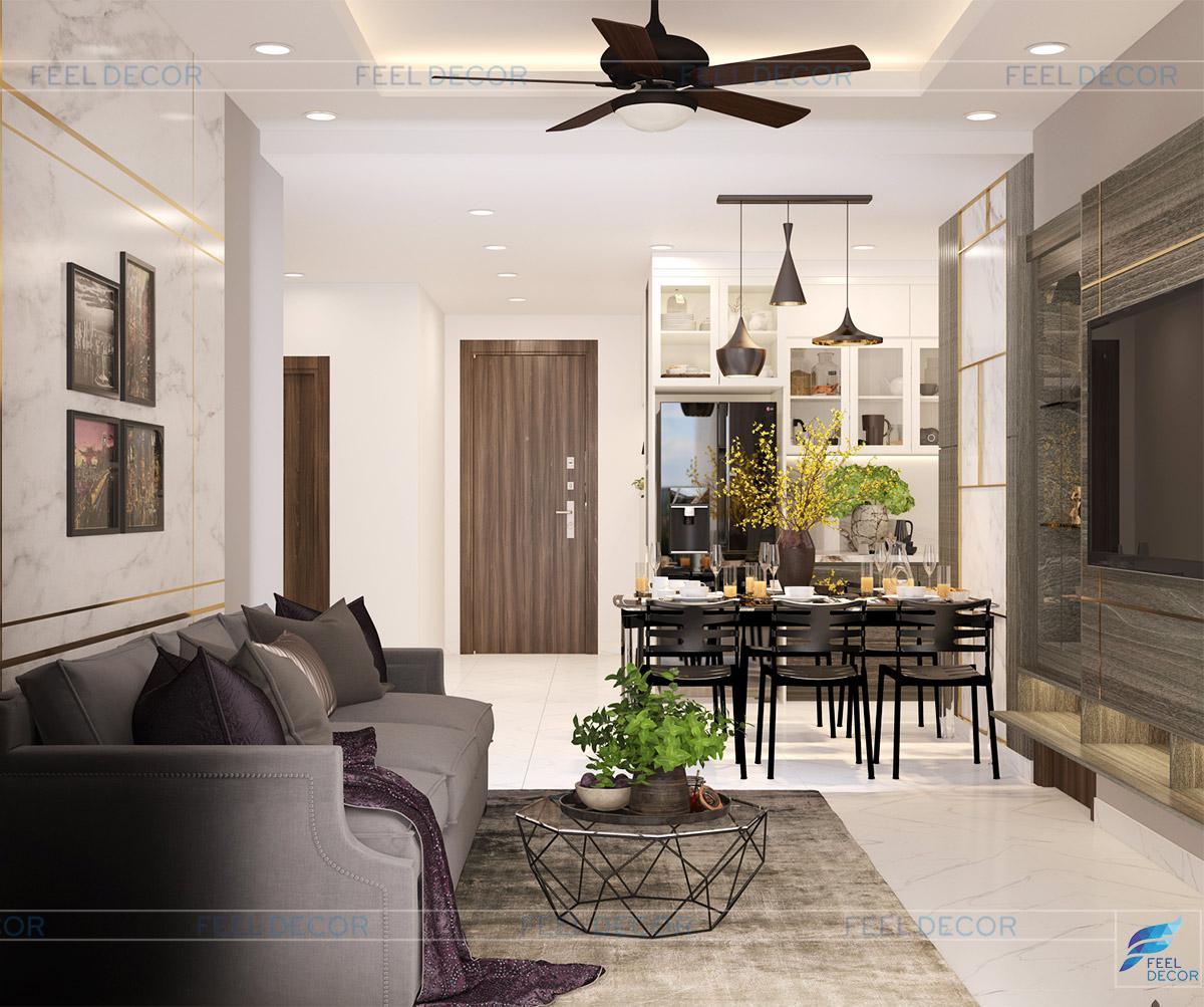 Thiết kế thi công nội thất phòng bếp căn hộ 92m2 chung cư Hà Đô Centrosa Garden