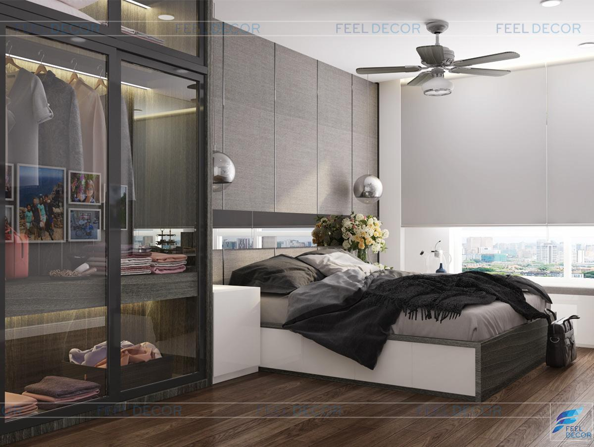 Thiết kế thi công nội thất phòng ngủ căn hộ 92m2 chung cư Hà Đô Centrosa Garden