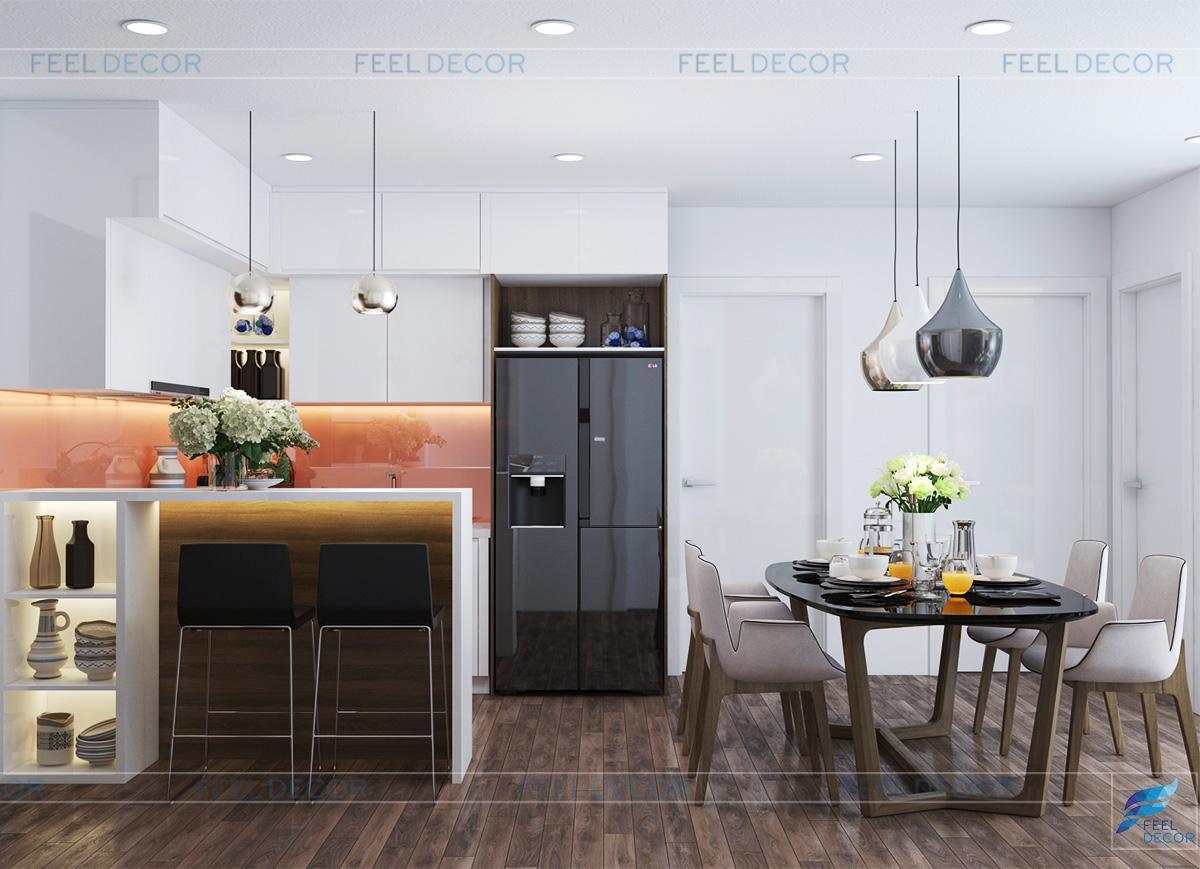 Thiết kế nội thất phòng bếp căn hộ 79m2 chung cư Hà Đô Centrosa Garden