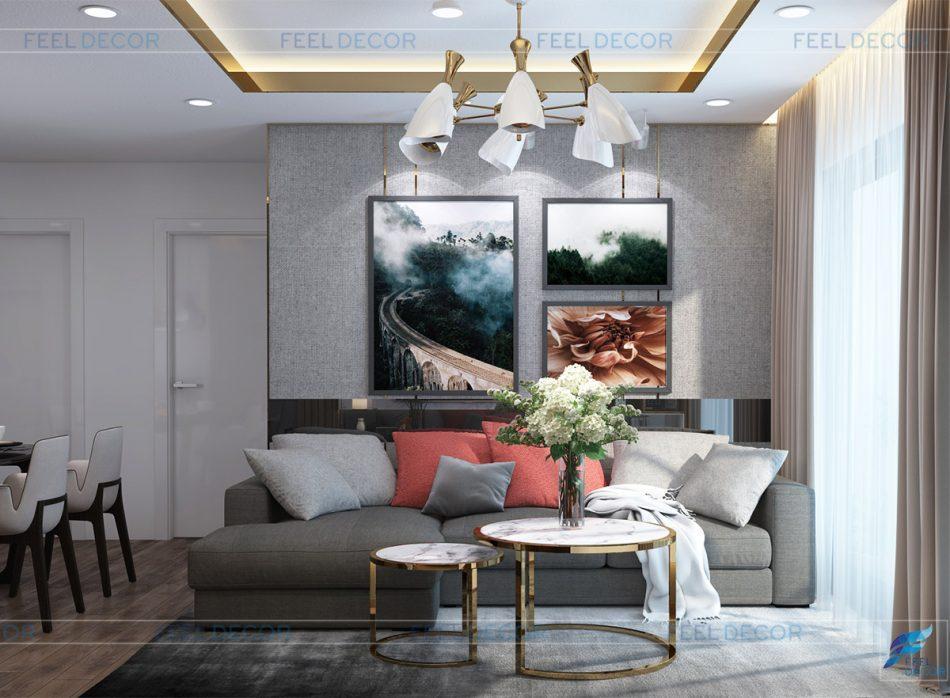 Thiết kế nội thất phòng khách căn hộ 79m2 chung cư Hà Đô Centrosa Garden
