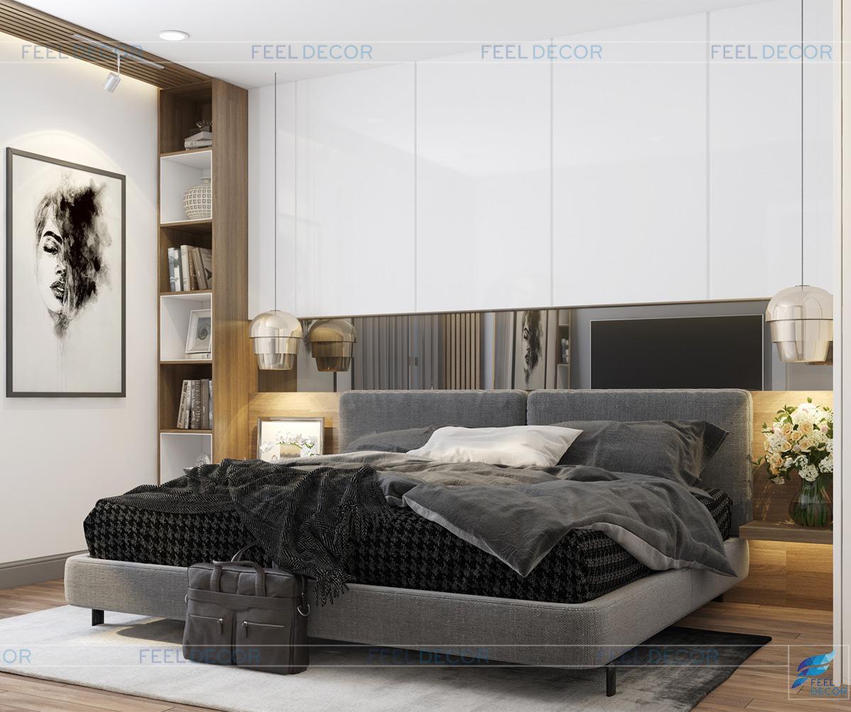 Thiết kế nội thất phòng ngủ căn hộ 79m2 chung cư Hà Đô Centrosa Garden