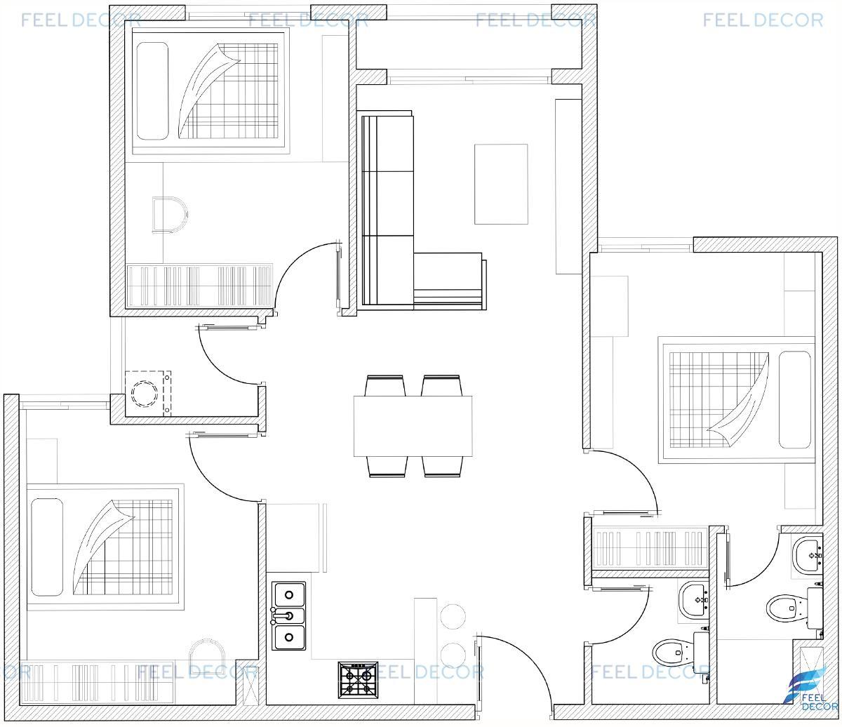Thiết kế nội thất căn hộ 79m2 chung cư Hà Đô Centrosa Garden