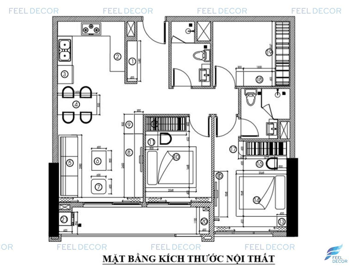 Thiết kế thi công nội thất căn hộ 2 phòng ngủ chung cư Orchard
