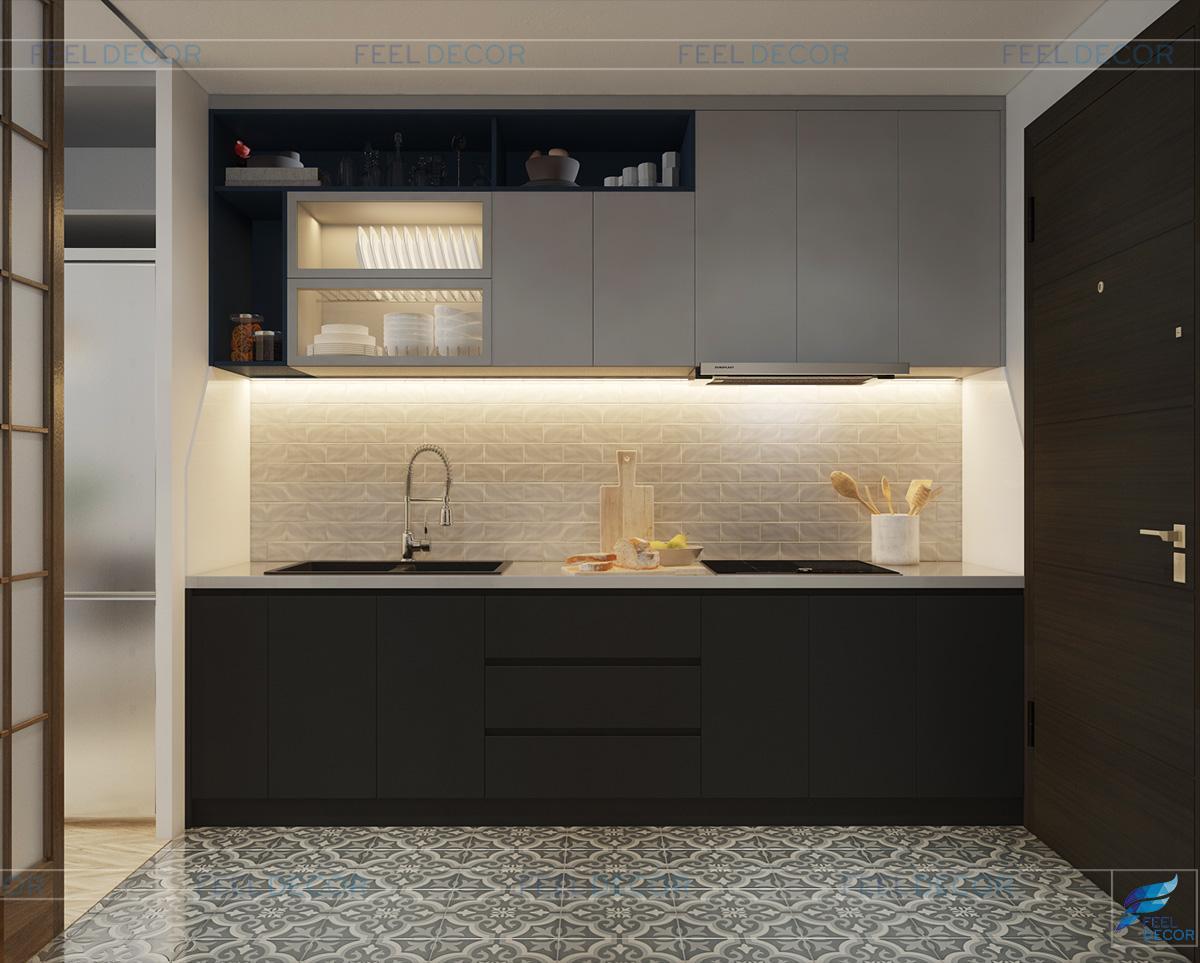 Thiết kế nội thất phòng bếp căn hộ Officetel 30m2 chung cư Millennium Masteri