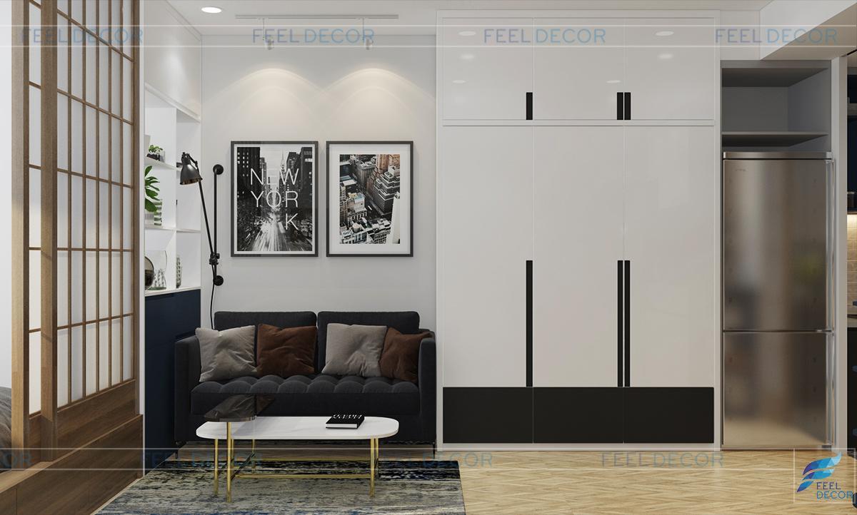 Thiết kế nội thất phòng khách căn hộ Officetel 30m2 chung cư Millennium Masteri