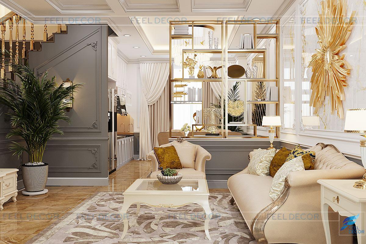 Thiết kế nội thất phòng khách - bếp biệt thự Lavila