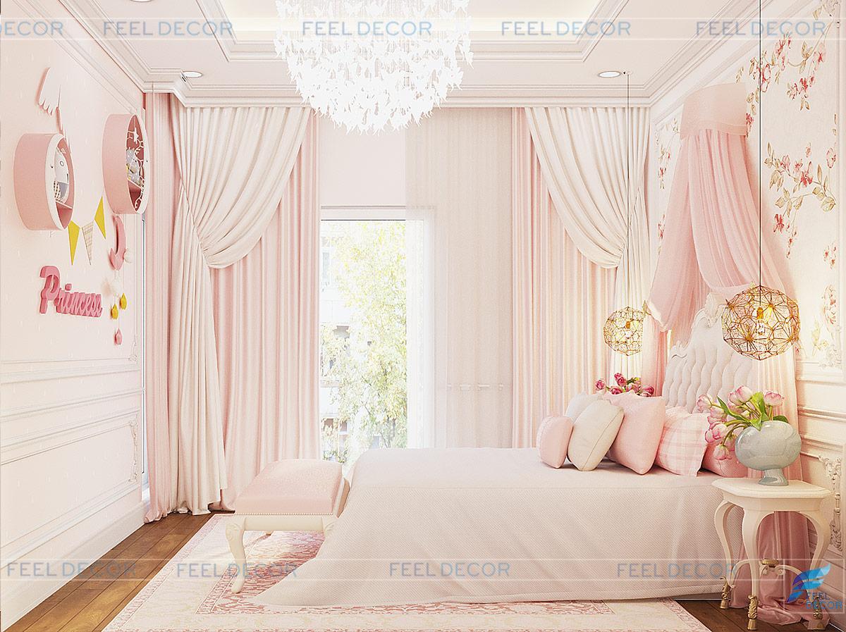 Thiết kế nội thất phòng ngủ cho bé gái biệt thự Lavila