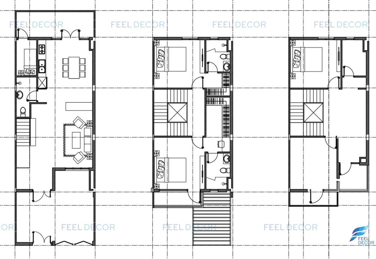 mặt bằng thiết kế thi công nội thất căn mẫu biệt thự lavila