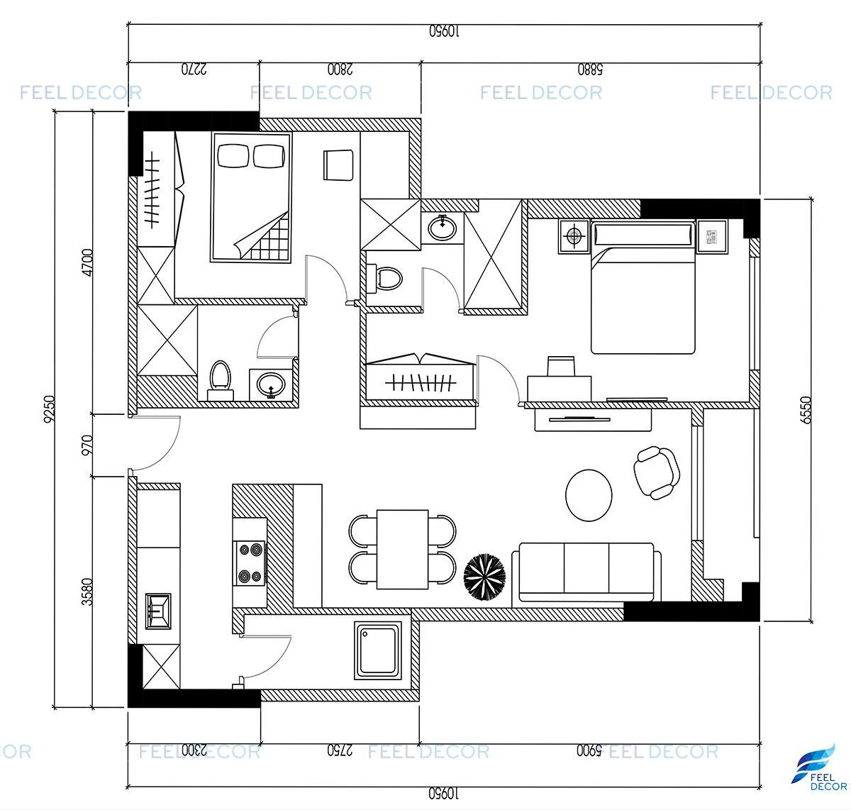 Thiết kế thi công nội thất căn hộ 85m2 chung cư Hà Đô Centrosa