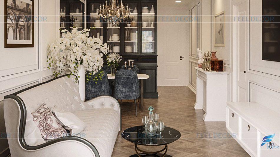 Thiết kế thi công nội thất phòng khách căn hộ 85m2 chung cư Hà Đô Centrosa