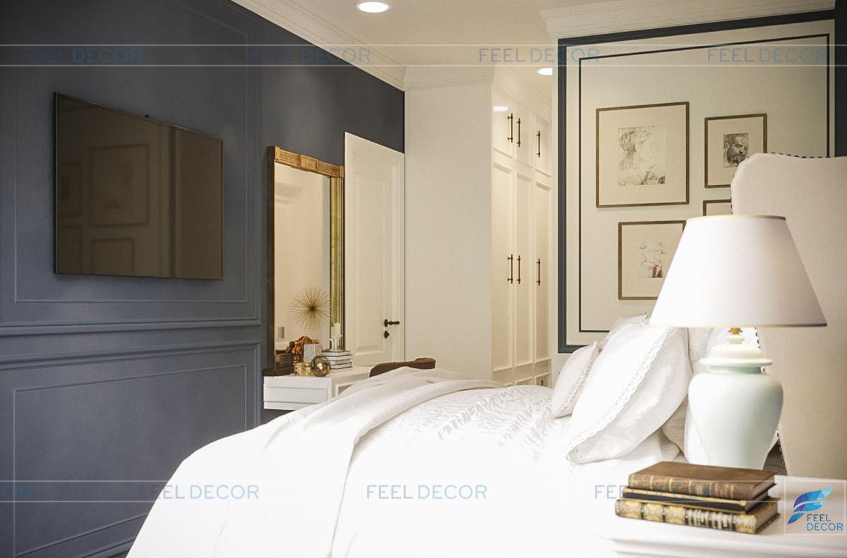 Thiết kế thi công nội thất phòng ngủ căn hộ 85m2 chung cư Hà Đô Centrosa