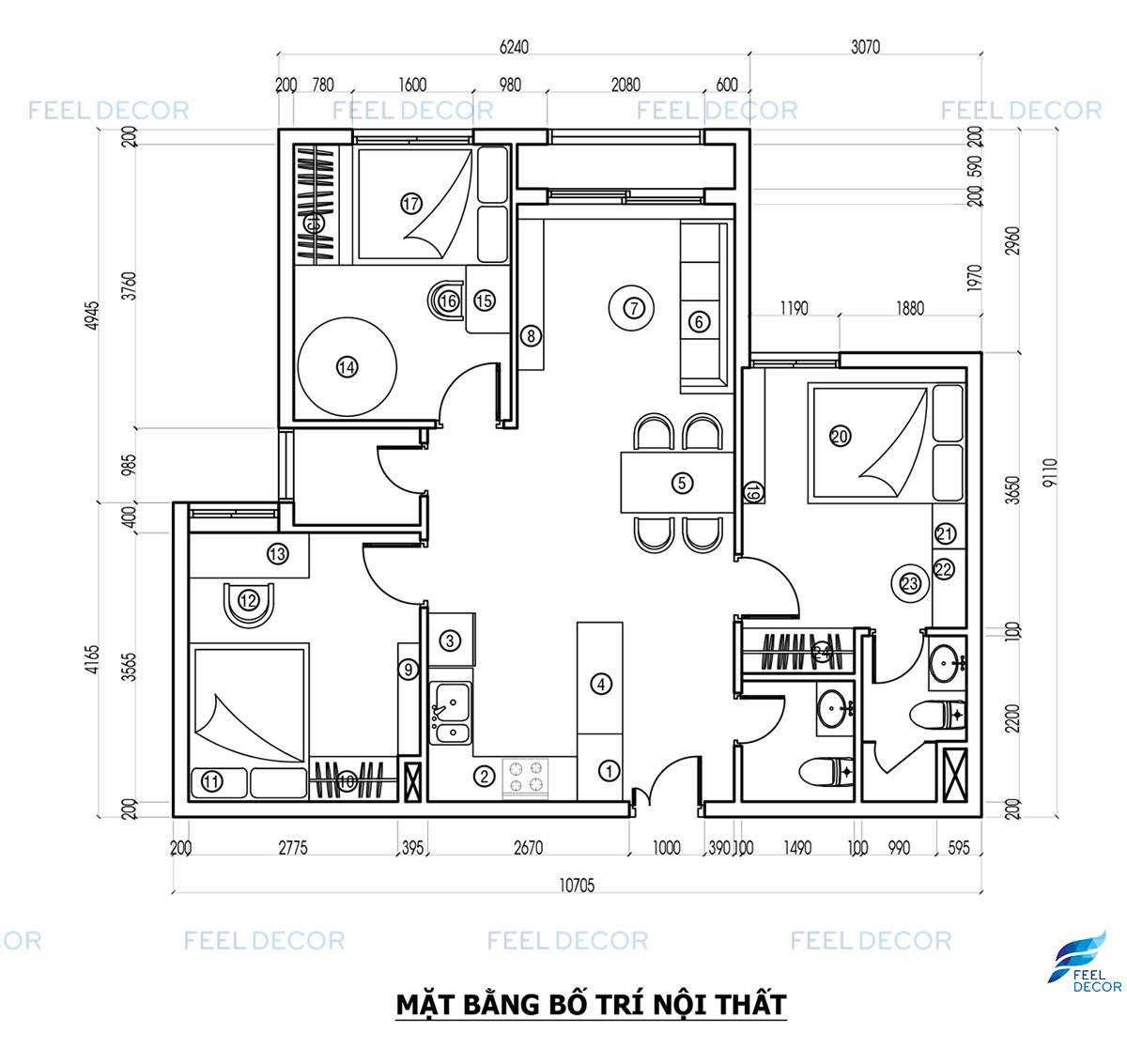 Thiết kế nội thất chung cư Hà Đô Centrosa Garden