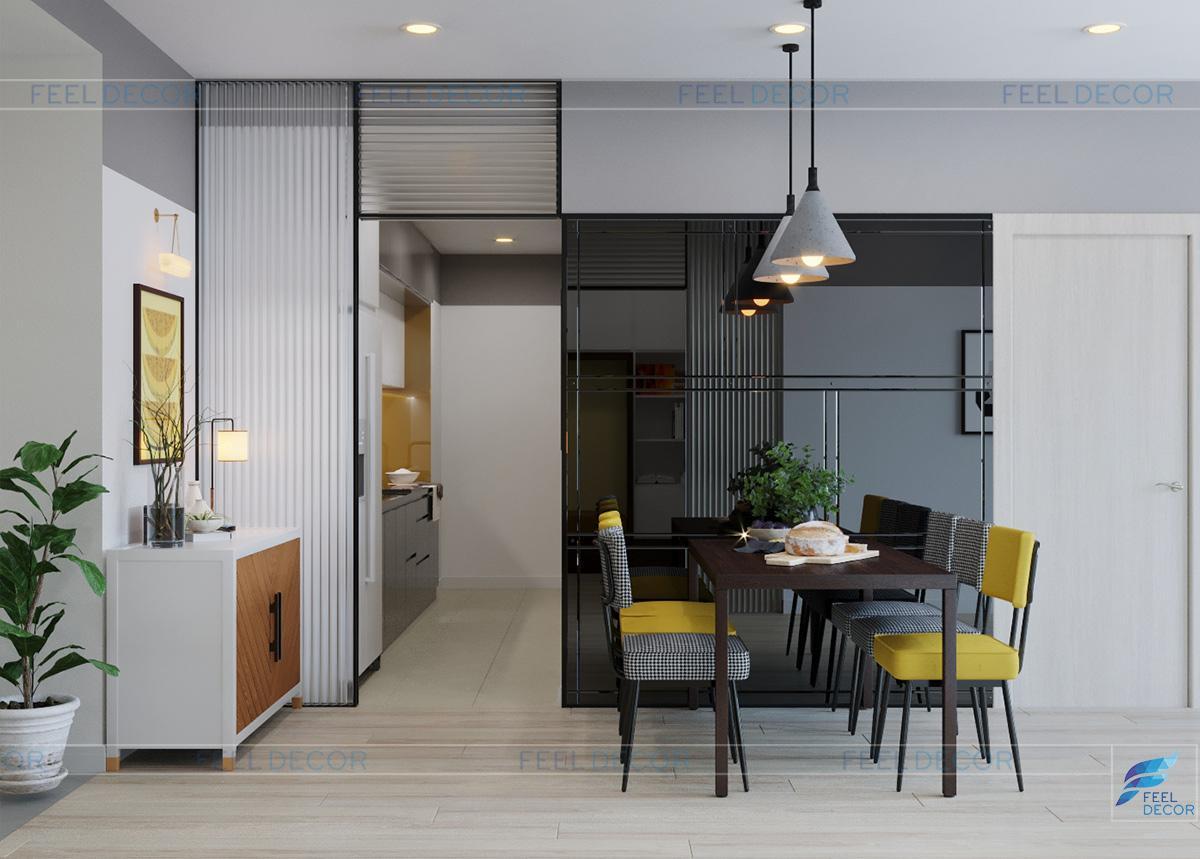 Thiết kế nội thất phòng bếp căn hộ 110m2 2 phòng ngủ chung cư Hà Đô Centrosa Garden