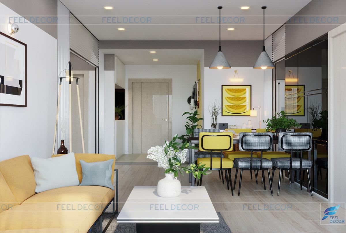 Thiết kế nội thất phòng khách căn hộ 110m2 2 phòng ngủ chung cư Hà Đô Centrosa Garden