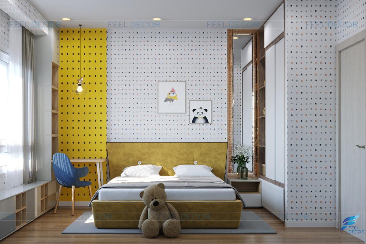 Thiết kế nội thất phòng trẻ em căn hộ 110m2 2 phòng ngủ chung cư Hà Đô Centrosa Garden