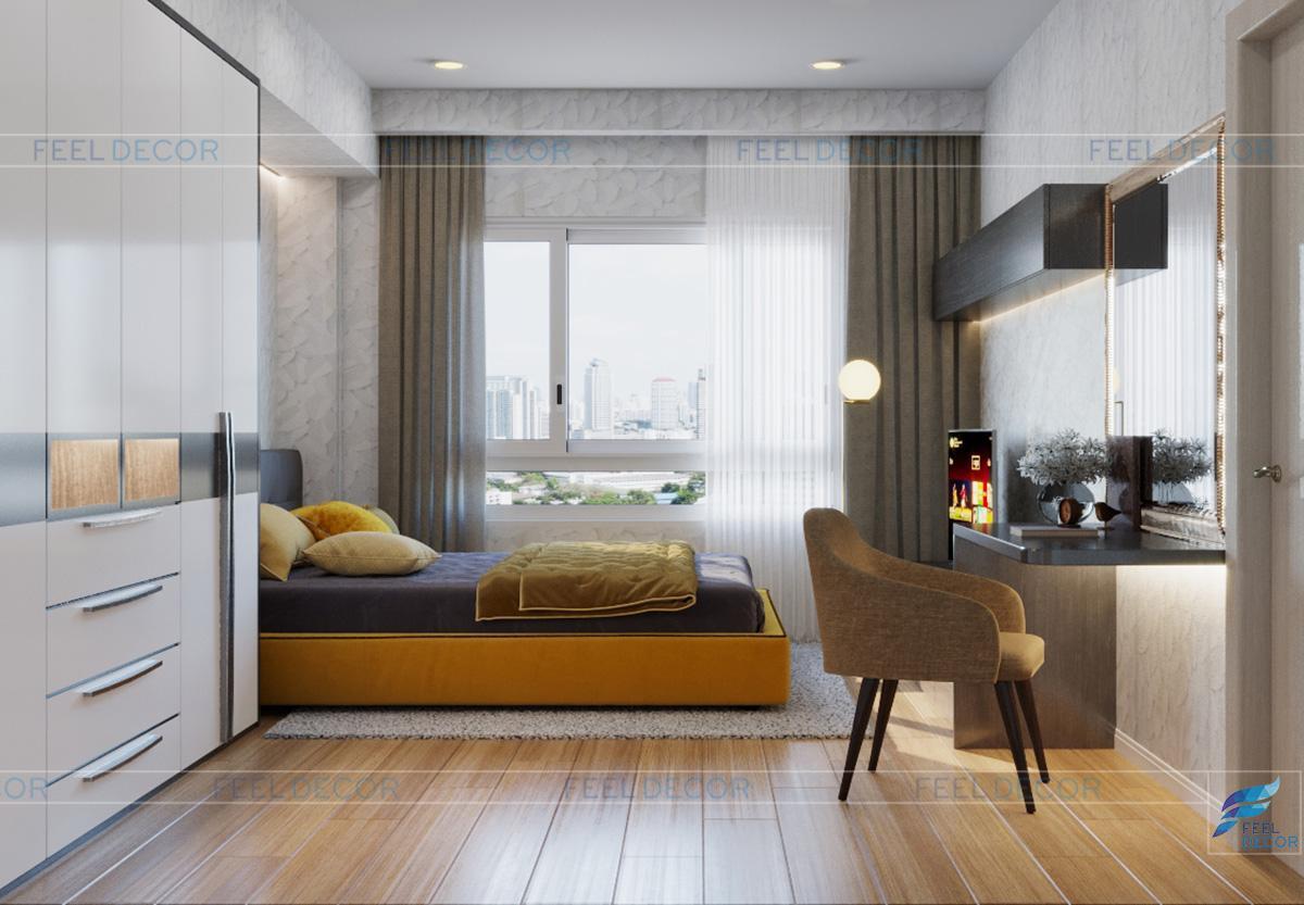 Thiết kế nội thất phòng master căn hộ 110m2 2 phòng ngủ chung cư Hà Đô Centrosa Garden