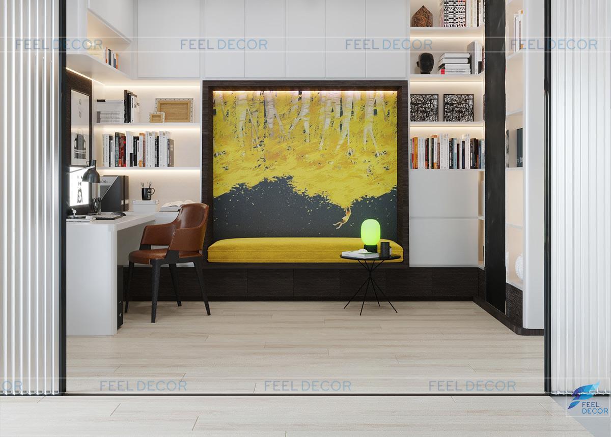 Thiết kế nội thất phòng sinh hoạt căn hộ 110m2 2 phòng ngủ chung cư Hà Đô Centrosa Garden