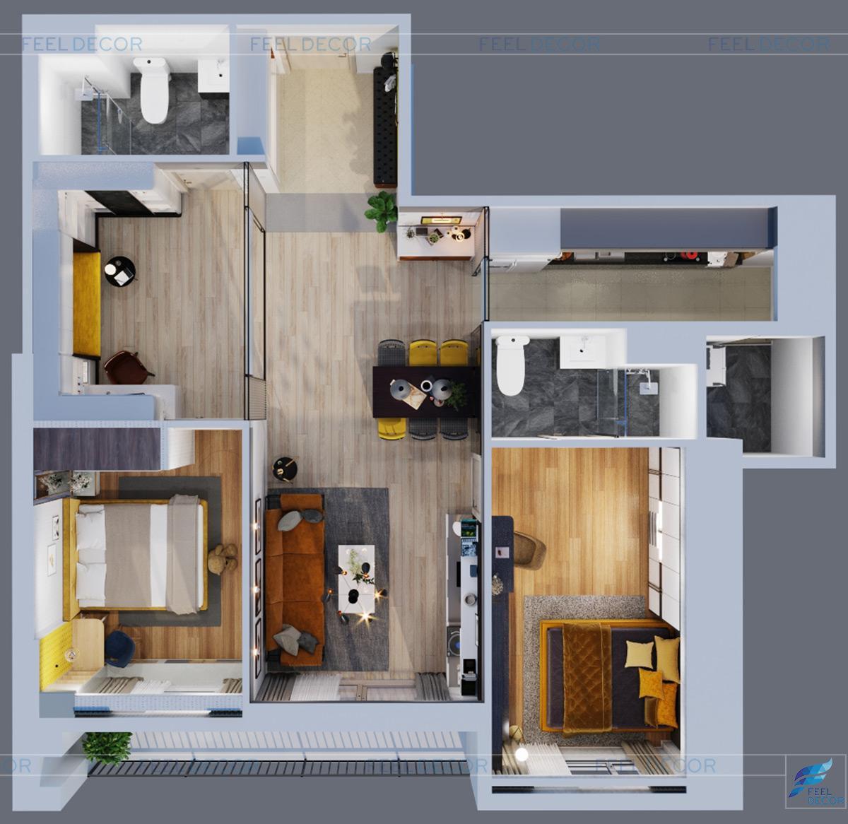 Thiết kế nội thất căn hộ 110m2 2 phòng ngủ chung cư Hà Đô Centrosa Garden