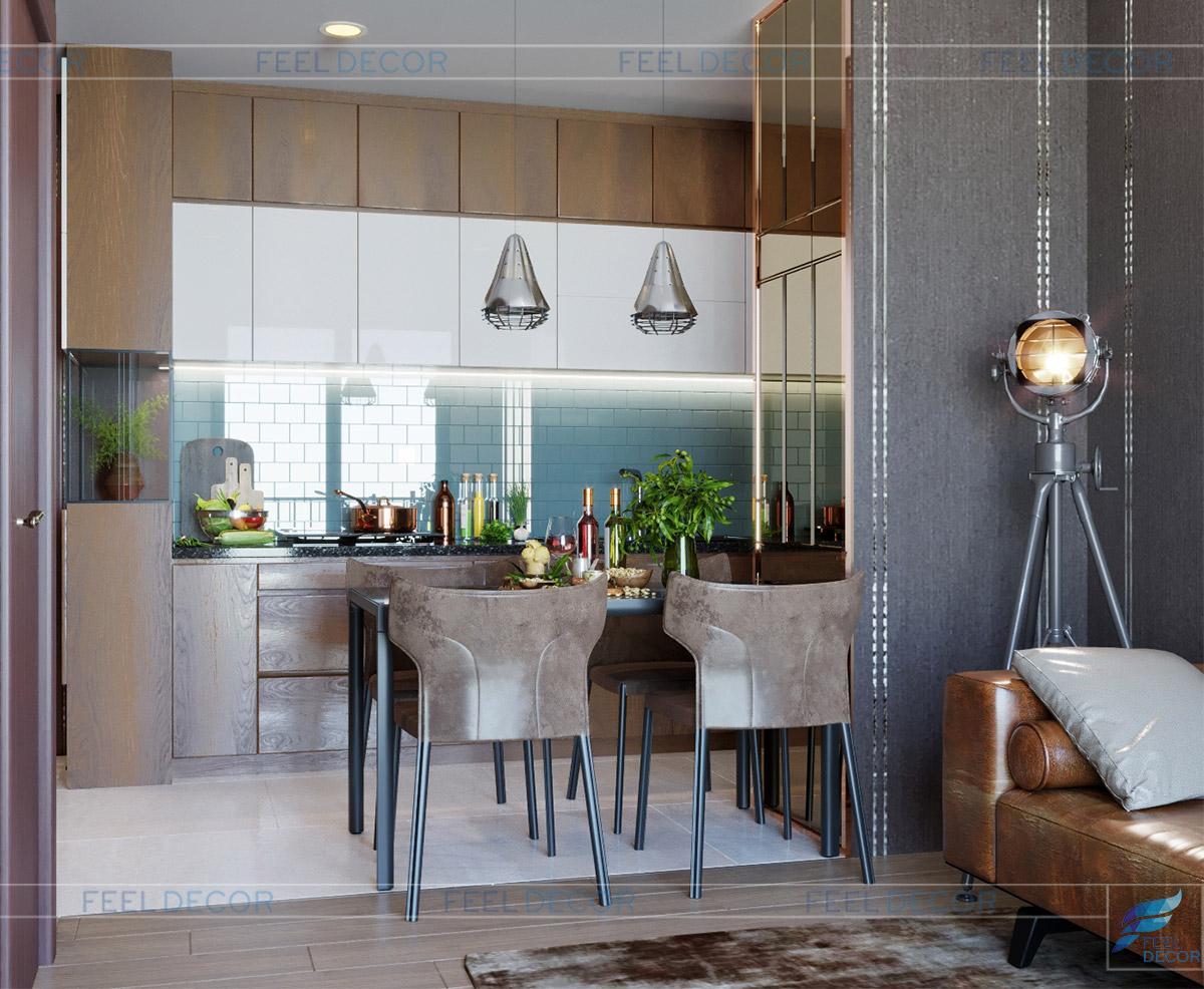 Hình ảnh 3D phòng bếp căn hộ 46m2 1 phòng ngủ chung cư Masteri An Phú