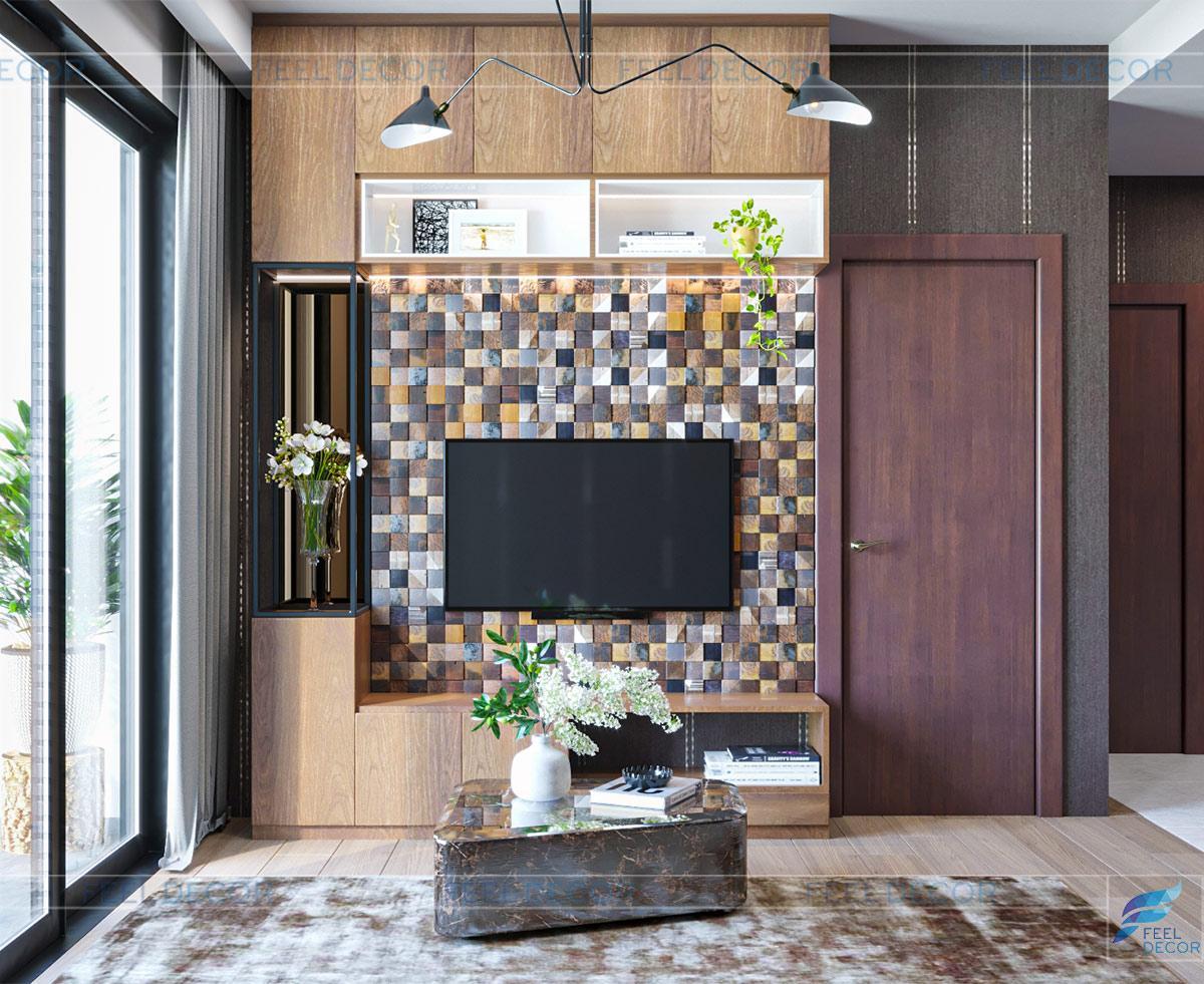 Hình ảnh 3D phòng khách căn hộ 46m2 1 phòng ngủ chung cư Masteri An Phú