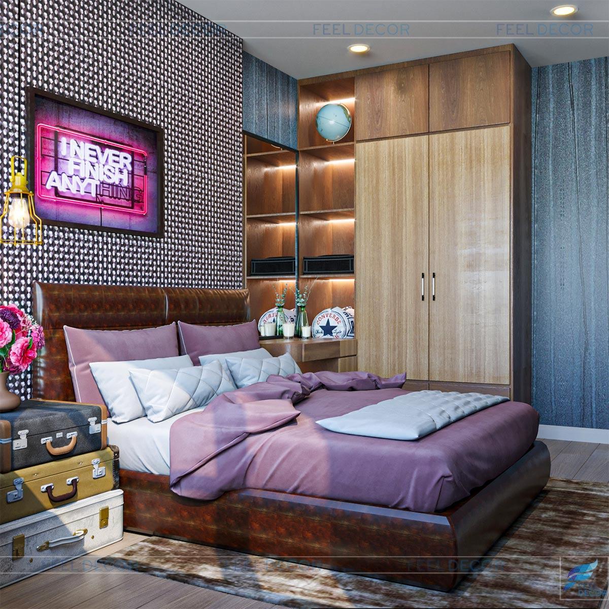 Hình ảnh 3D phòng ngủ căn hộ 46m2 1 phòng ngủ chung cư Masteri An Phú