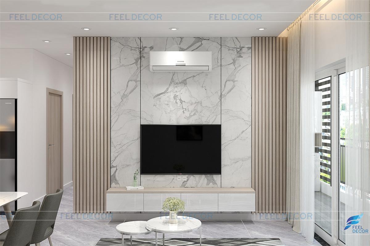 Thiết kế nội thất phòng khách - bếp căn hộ 40m2 chung cư Sunrise Riverside