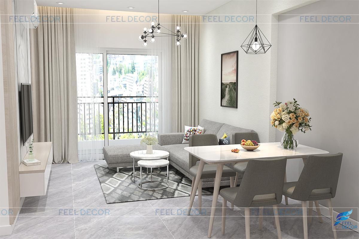 Kệ tivi treo tường giúp tiết kiệm không gian cho căn hộ.
