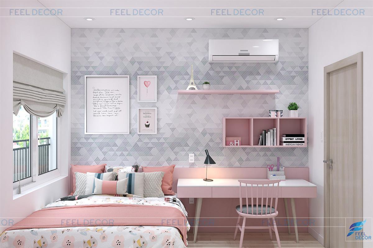 Thiết kếnội thất phòng ngủ bé gái căn hộ 40m2 căn hộ Sunrise Riverside