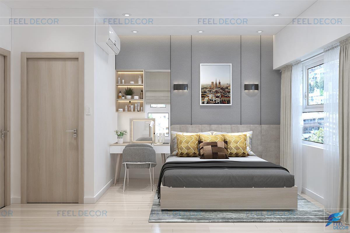 Thiết kế phòng ngủ Master căn hộ 40m2 chung cư Sunrise Riverside