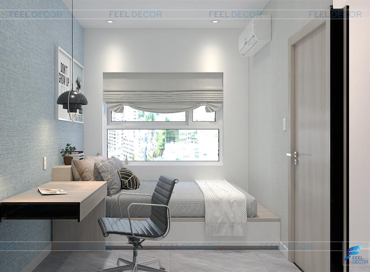 Không gian phòng ngủ phụ căn hộ 40m2 chung cư Sunrise Riverside