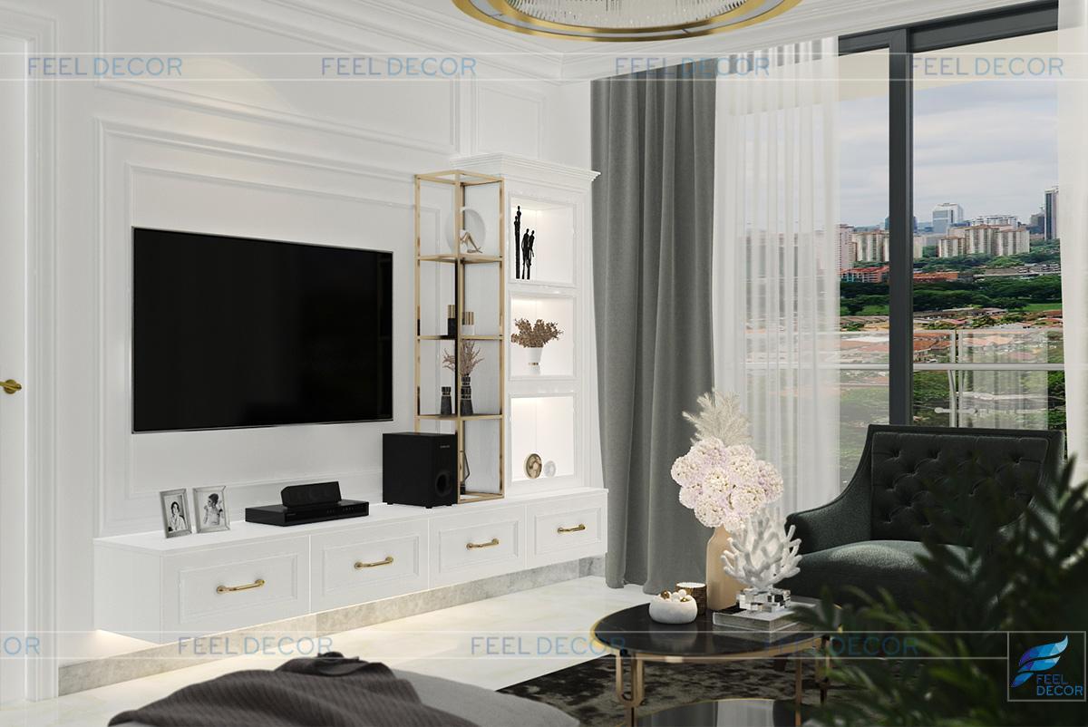 Thiết kế nội thất phòng khách căn hộ chung cư Vinhome Bason
