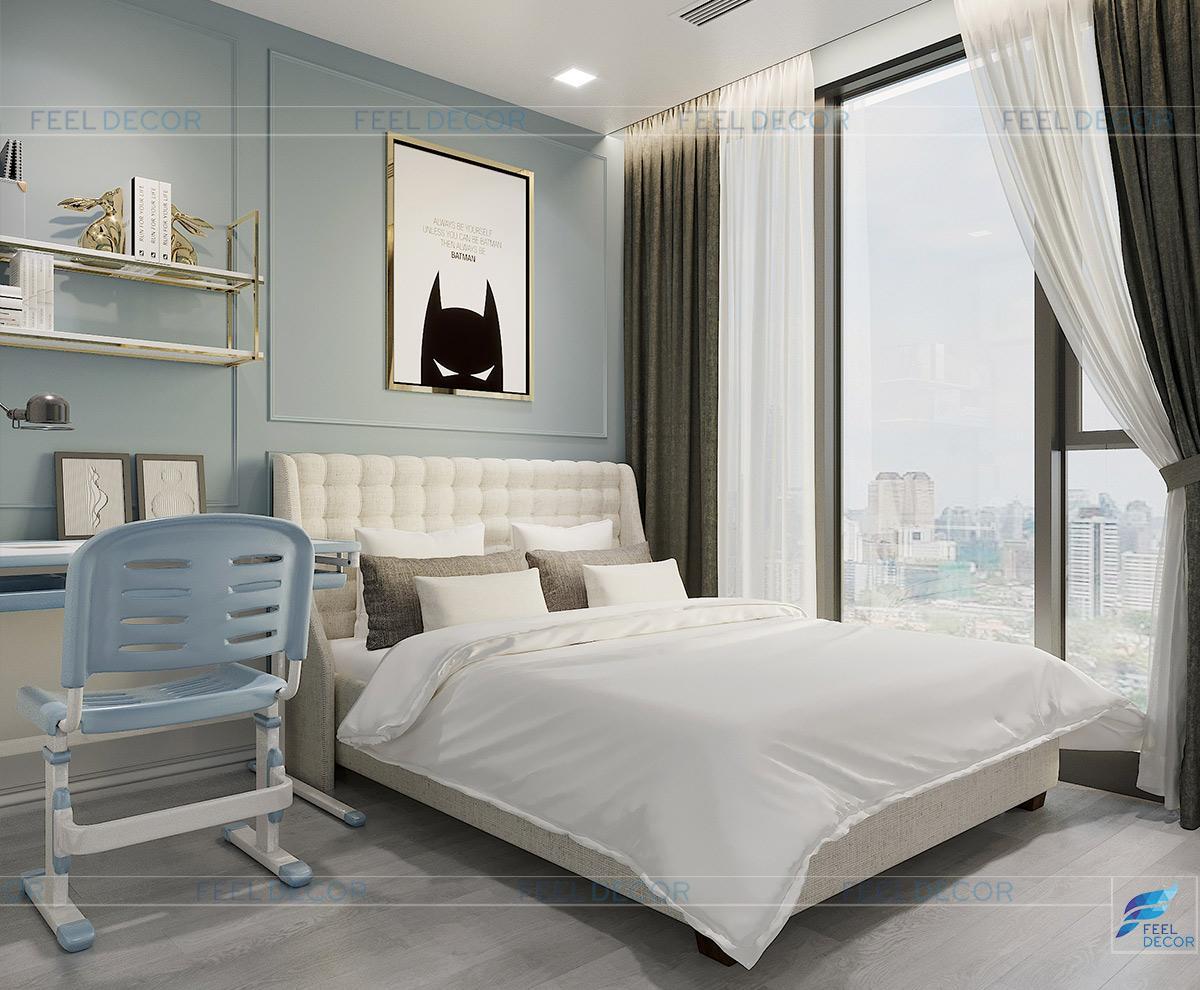 Thiết kế nội thất phòng ngủ con trai căn hộ chung cư Vinhome Bason
