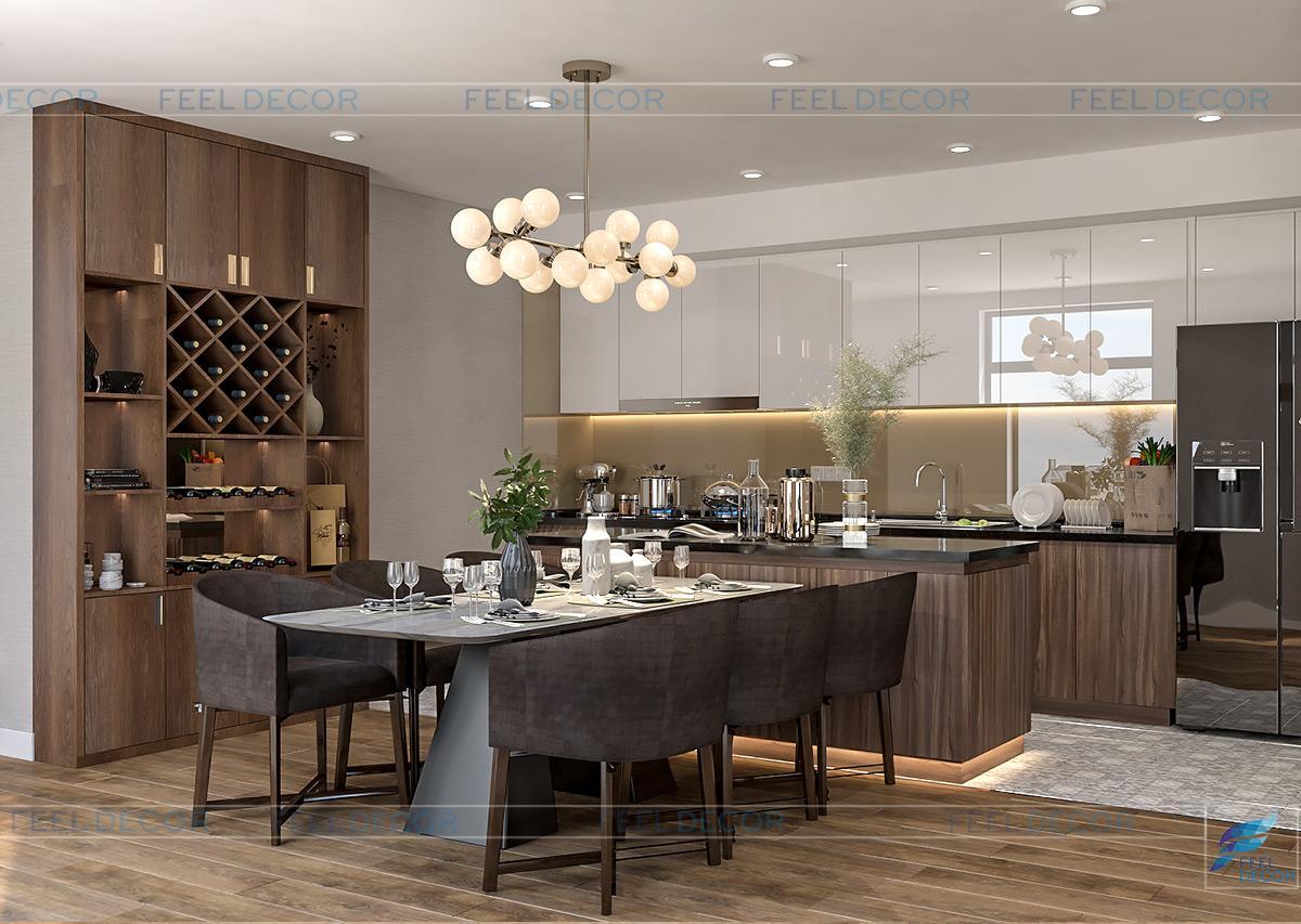 Thiết kế nội thất phòng bếp chung cư căn hộ 125m2