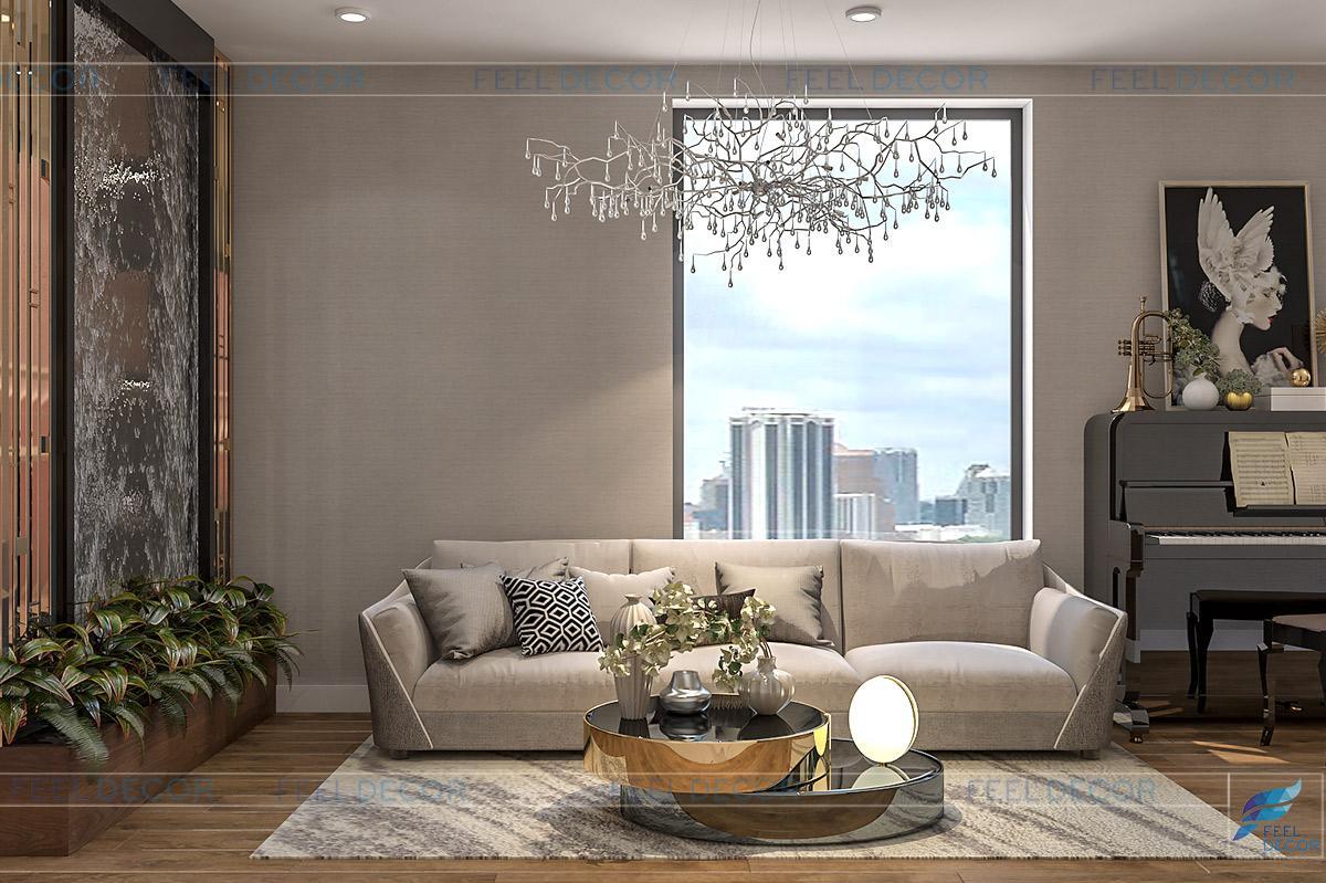 Phòng khách được thiết kế theo phong cách hiện đại