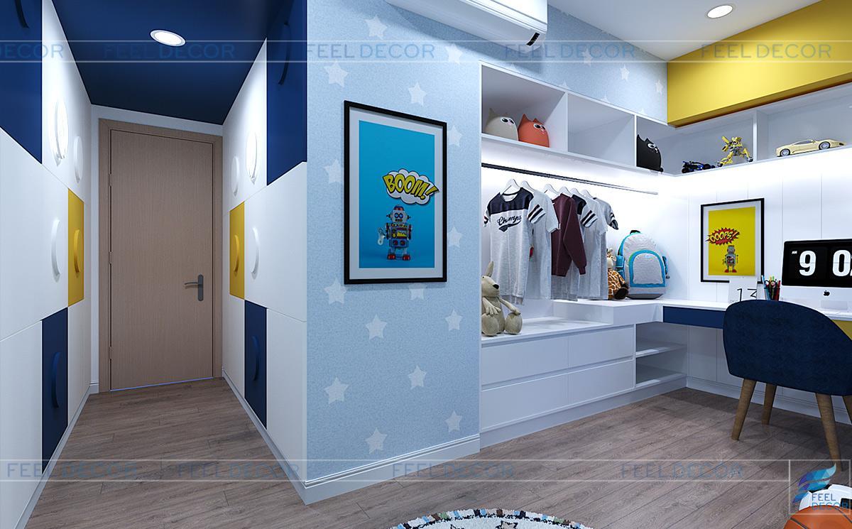 Thiết kế nội thất phòng ngủ cho bé trai căn hộ 125m2