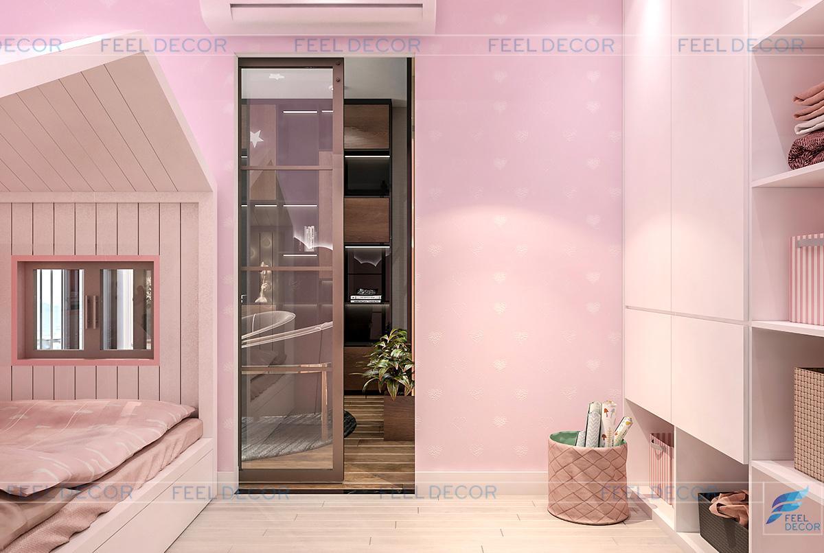 Thiết kế nội thất phòng ngủ cho bé gái căn hộ 125m2