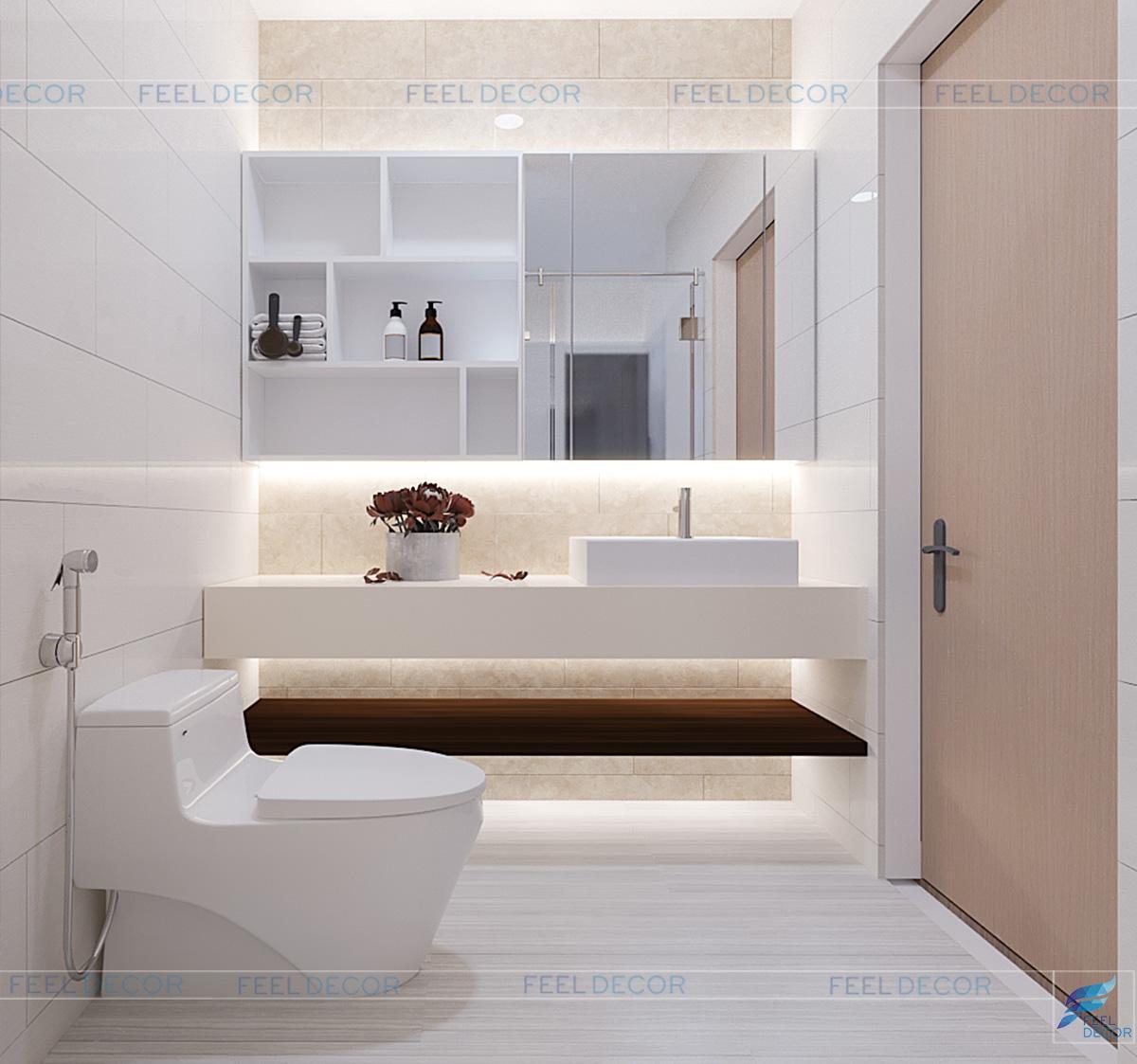 Nội thất tối giản và hiện đại mang lại sự tinh tế cho phòng tắm