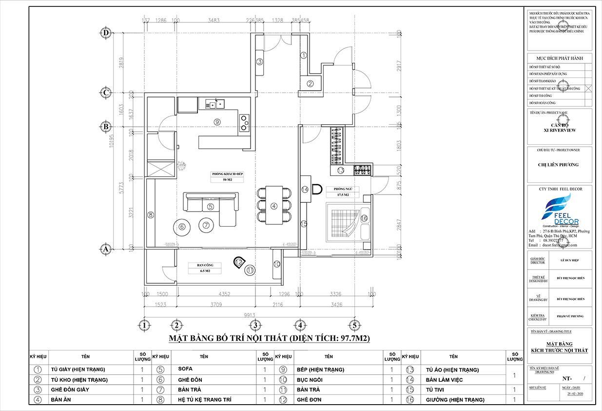 Thiết kế nội thất phòng khách - bếp liền kề căn hộ Xi Riverview Palace