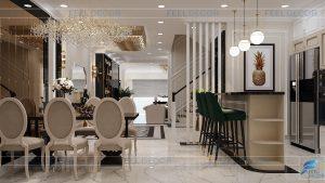 Thiết kế nội thất phòng khách tầng trệt nhà phố Bình Dương