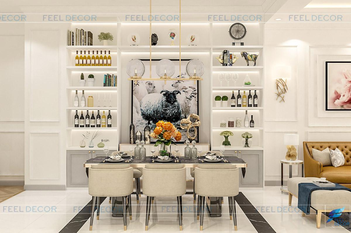 Hình ảnh 3D thiết kế nội thất phòng bếp nhà phố LakeView quận 2