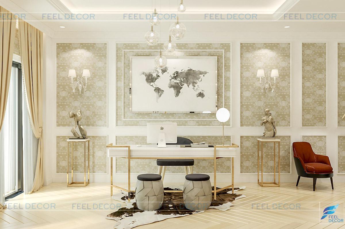 Hình ảnh 3D thiết kế nội thất phòng làm việc nhà phố LakeView quận 2