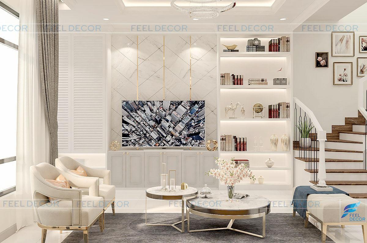 Hình ảnh 3D thiết kế nội thất phòng khách nhà phố LakeView quận 2