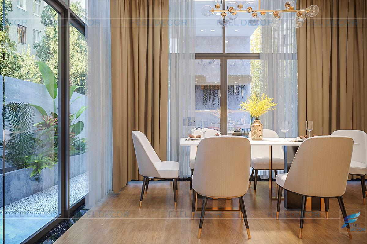 nội thất phòng bếp và bàn ăn vô cùng hiện đại