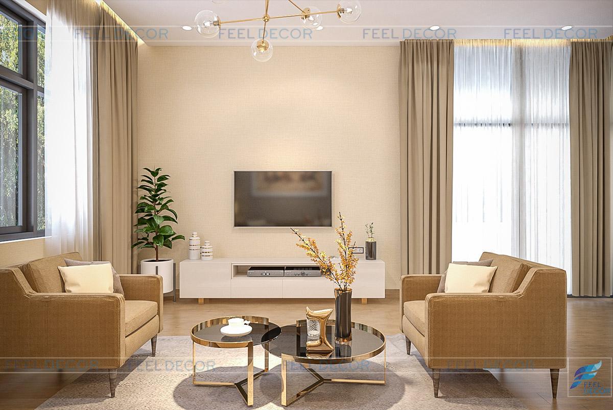 Phòng sinh hoạt lầu 1 được thiết kế theo phong cách hiện đại