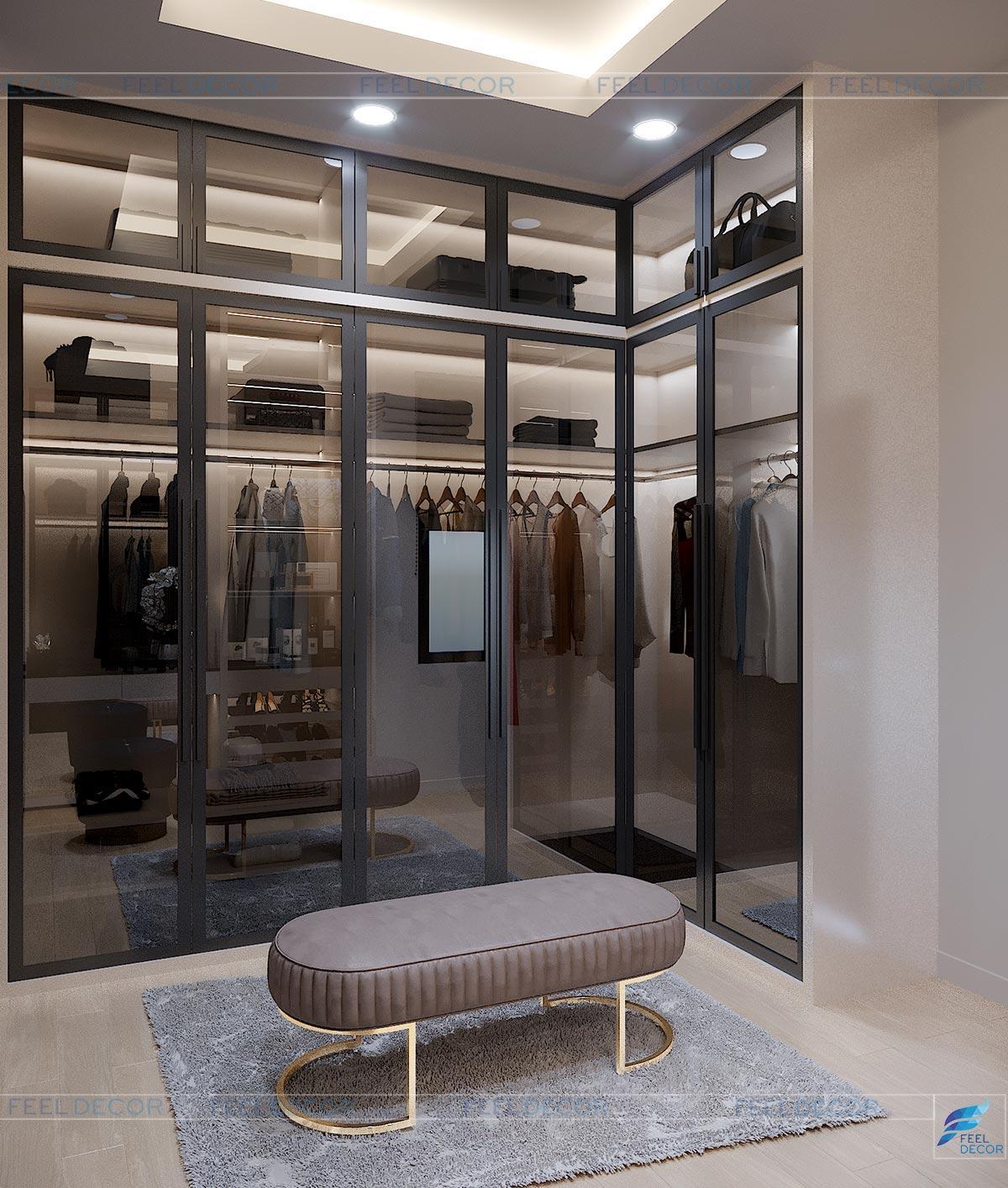 Thiết kế thi công nội thất phòng thay đồ nhà phố Long An